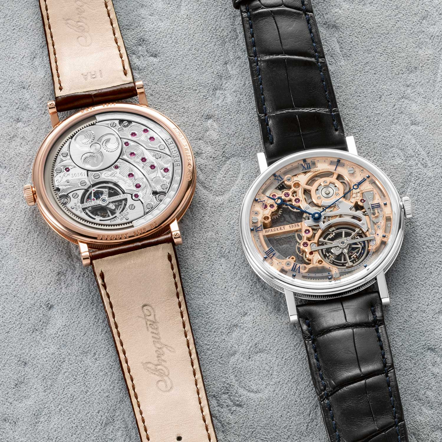 (From left) The ref. 5377 has classically handsome Breguet features, from the guillochéd dial to the gold bead indicators and blued Breguet hands on display. The ref. 5395 features a full gold movement that has been thoroughly skeletonised by Breguet, removing half of all its material to create a modern, lean and powerful design.