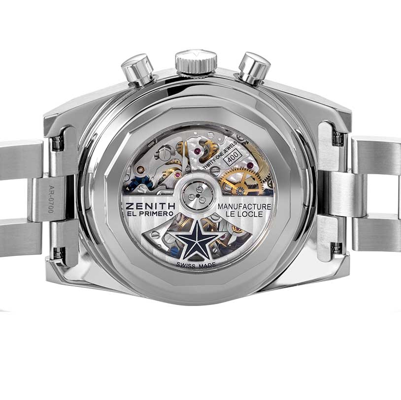 """The present generation of the El Primero visible through the caseback of the Zenith x Revolution Chronomaster Revival Ref. A3818 """"Cover Girl"""", which enables the watch to measure 1/10th of a second (Image © Revolution)"""