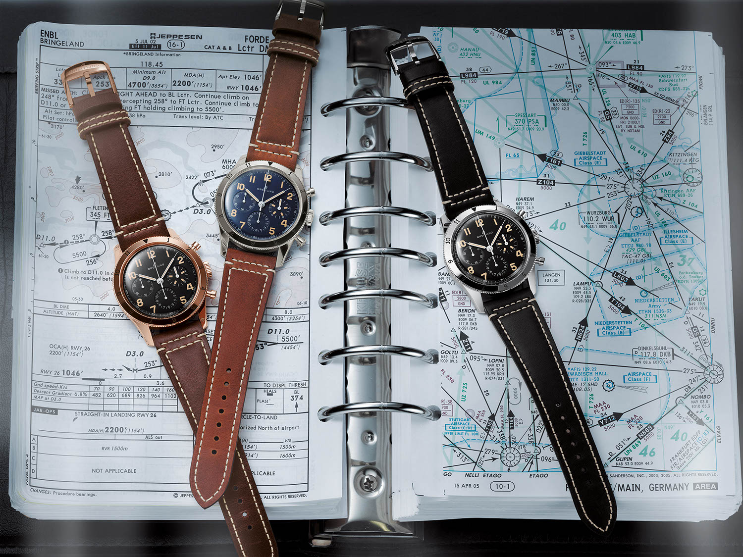 (L-R) The Breitling AVI Ref. 765 1953 Re-Edition in 18K red gold, platinum and steel