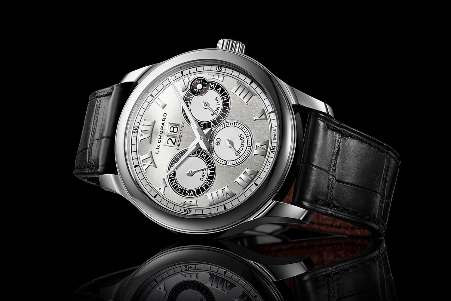 The Chopard L.U.C Perpetual Twin in steel, with a twin barrel design delivering a 65-hour power reserve.