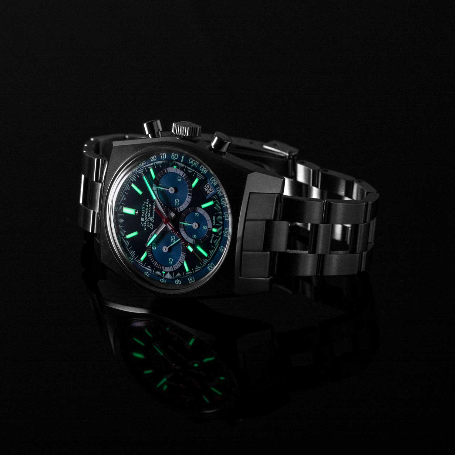 "Lume on the Zenith x Revolution Chronomaster Revival Ref. A3818 ""Cover Girl"" (Image © Revolution)"