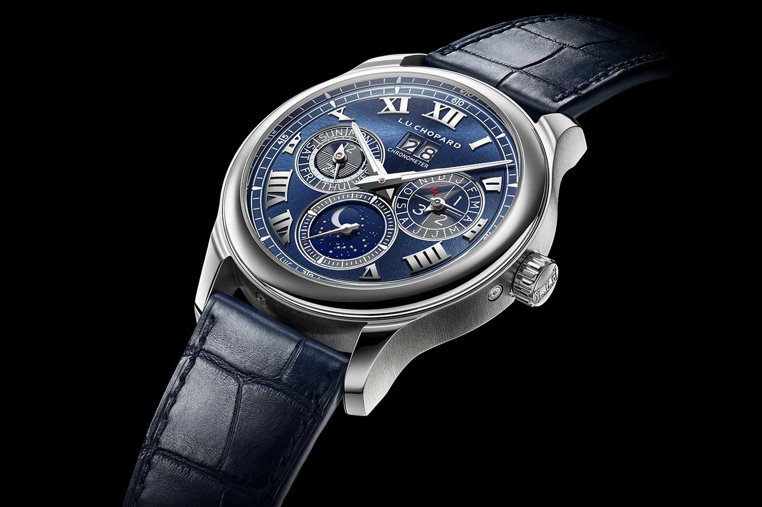 Chopard L.U.C Lunar One (2017). The platinum case with blue sunray brushed dial brings out the orbital moonphase and night sky even more.