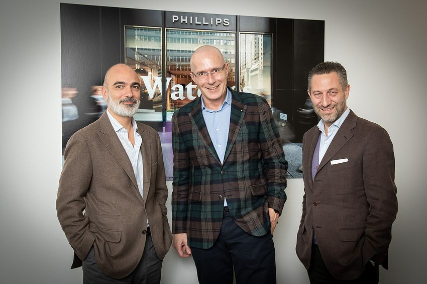 (L-R) Alexandre Ghotbi, Head of Watches, Continental Europe and the Middle-East of Phillips, Michel Loris-Melikoff, Managing Director of Baselworld and Aurel Bacs, Senior Consultant of Phillips