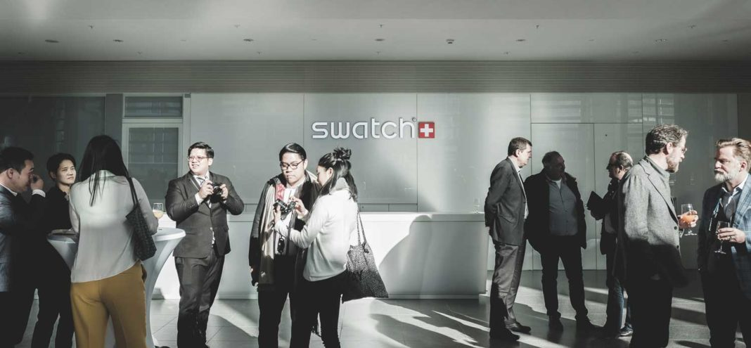The grand welcome foyer at Swatch Group's recently opened HQ (Image © Revolution)