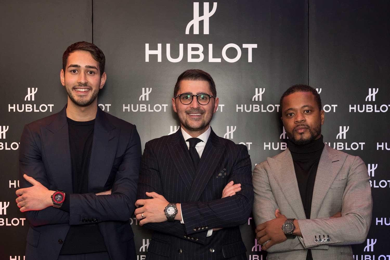 Hublot Friend of the Brand Chris Froggatt, Hublot Brand Director UK Omar Choudhary, Patrice Evra