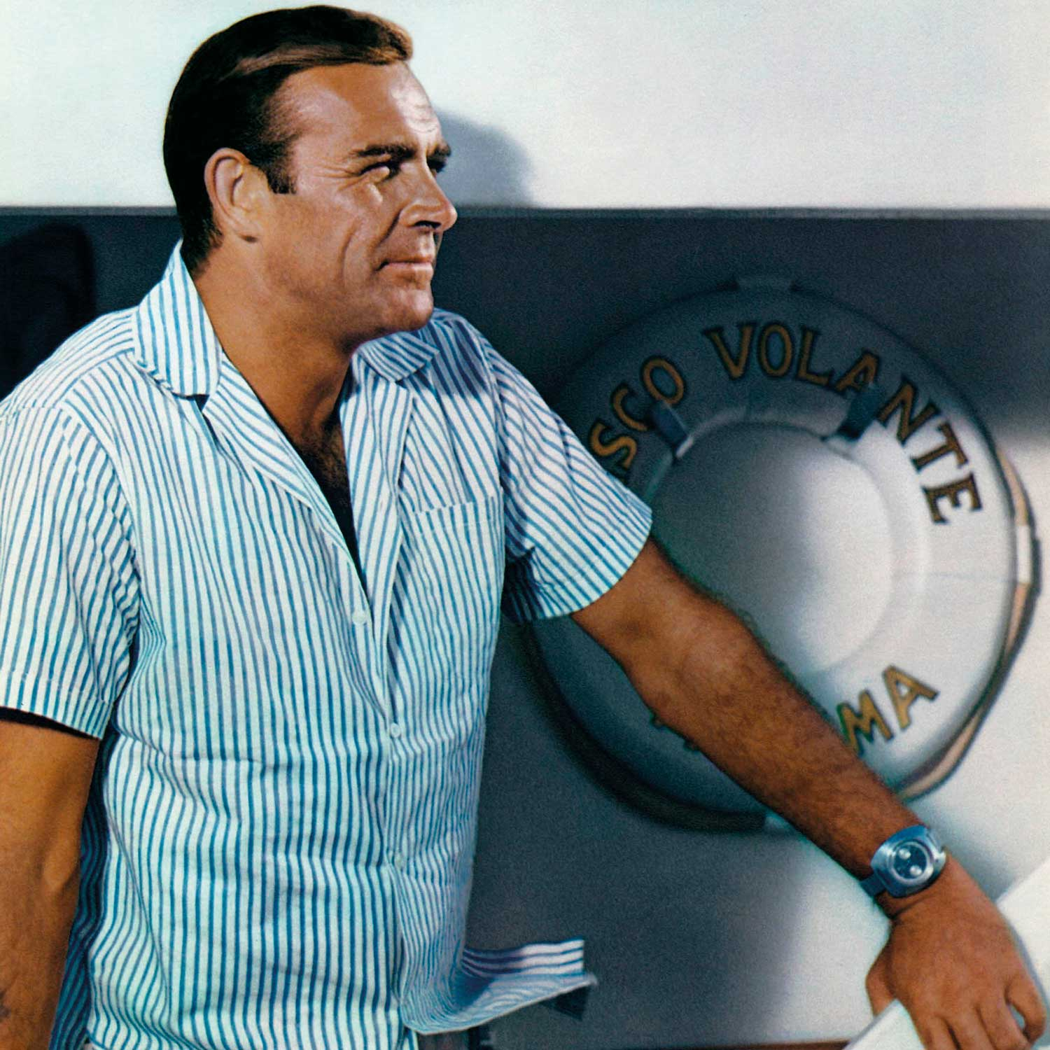 Sean Connery as James Bond in the 1965 instalment, Thunderball. On his wrist a special Breitling Top Time, outfitted by Q with a Geiger counter