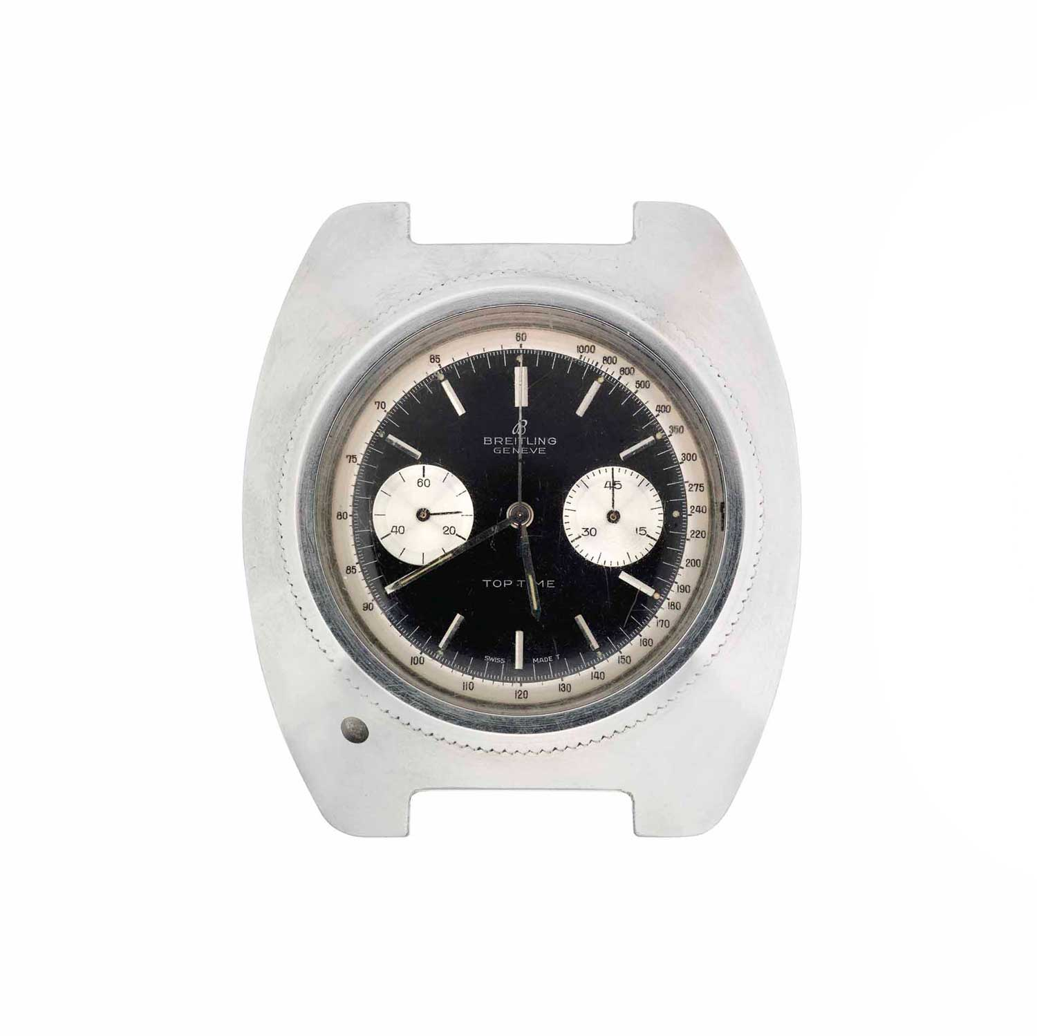 James Bond's specially modified Breitling Top Time wristwatch used in Thunderball, 1965; modified from a ref. 2002; the watch was manufactured in 1962 and then modified for the purpose of the movie
