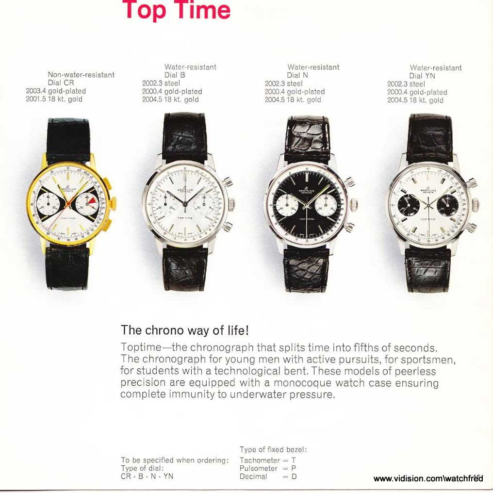 Dial variations and case material options for the Top Time as listed in an original sales catalog from the 1960s (Source: breitlingsource.com / @WatchFred)