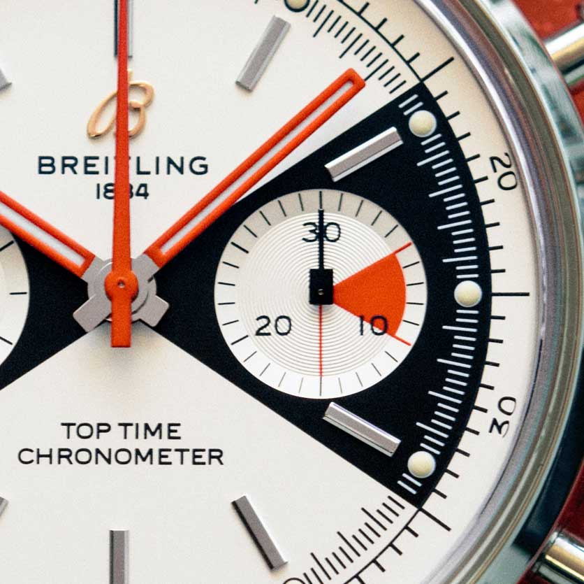 Square pinion heads on the sub-register hands on the dial of the 2020 Breitling Top Time Limited Edition