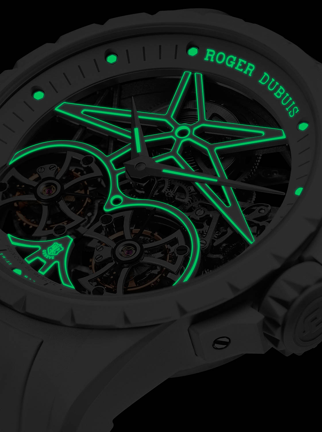 Roger Dubuis Excalibur Twofold showing off it's Super-LumiNova treated bridges and strap in the dark