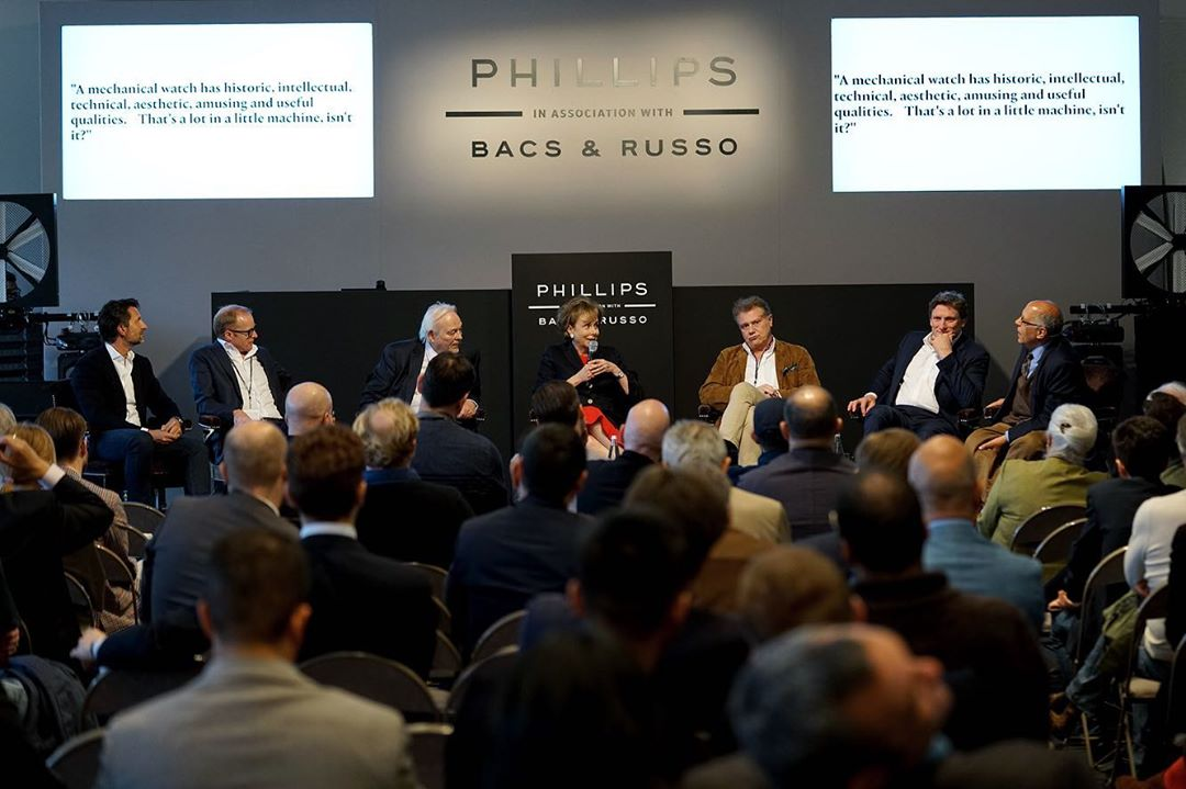 A crowded floor at the Independents' Day: The Legacy of George Daniels: Paying tribute to independent watchmaking, panel session on the eve of Phillips Watches' 2019 spring auction in Geneva (Image © Phillips Watches)