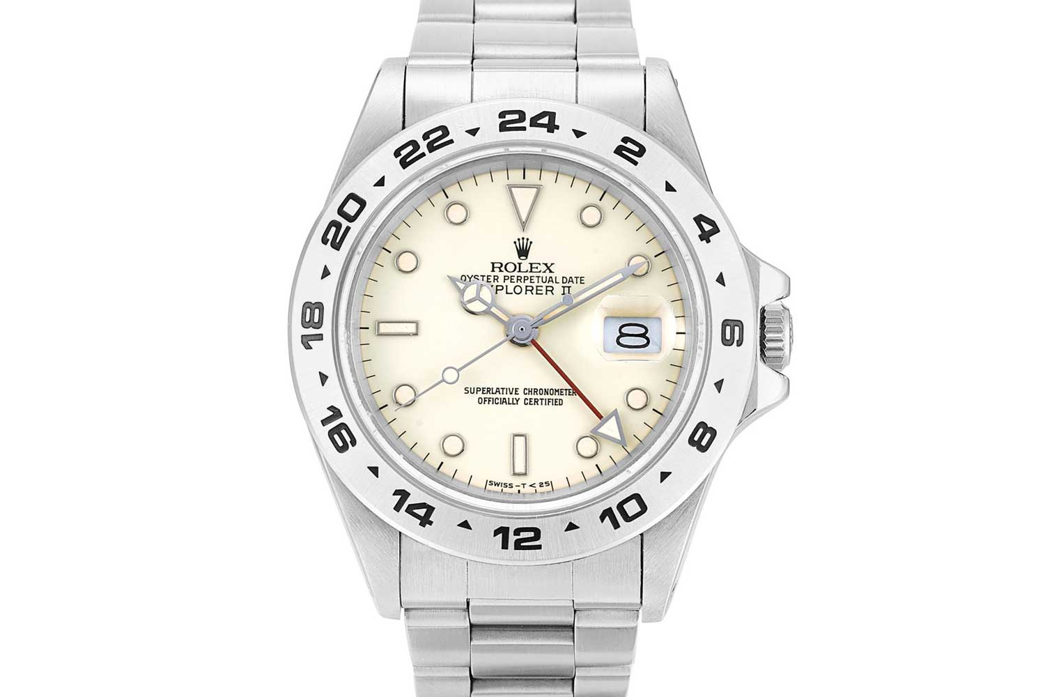 Rolex Explorer II reference 16550 - A stainless steel wristwatch with 24-hour indication and cream rail dial from 1987