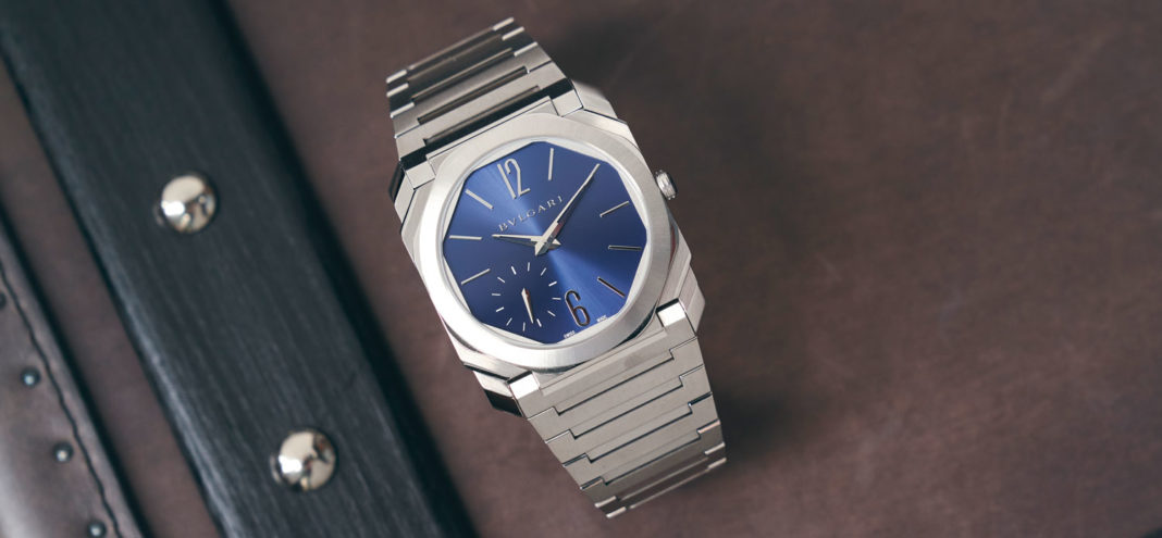 The Octo Finissimo Automatic in satin polished steel with blue dial (Image © Revolution)
