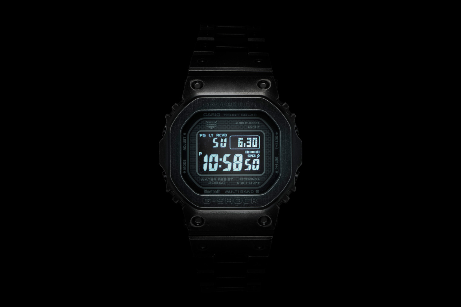 Lit up screen on the Full Metal G-SHOCK GMW-B5000