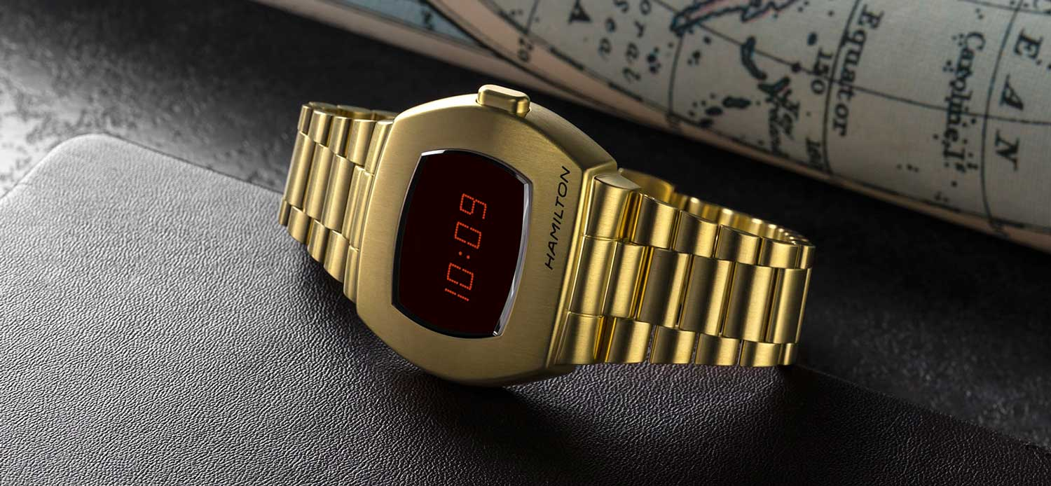 Hamilton PSR in steel with yellow gold PVD coating (Image © Revolution)