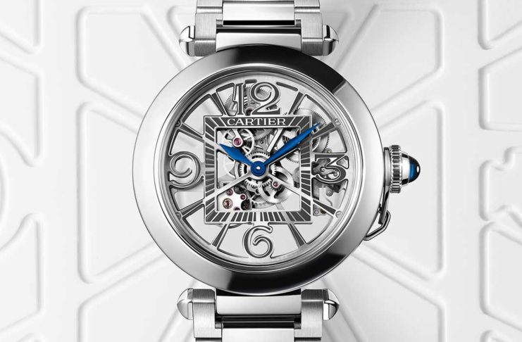 The Pasha de Cartier Skeleton in steel, featuring a 9624MC caliber