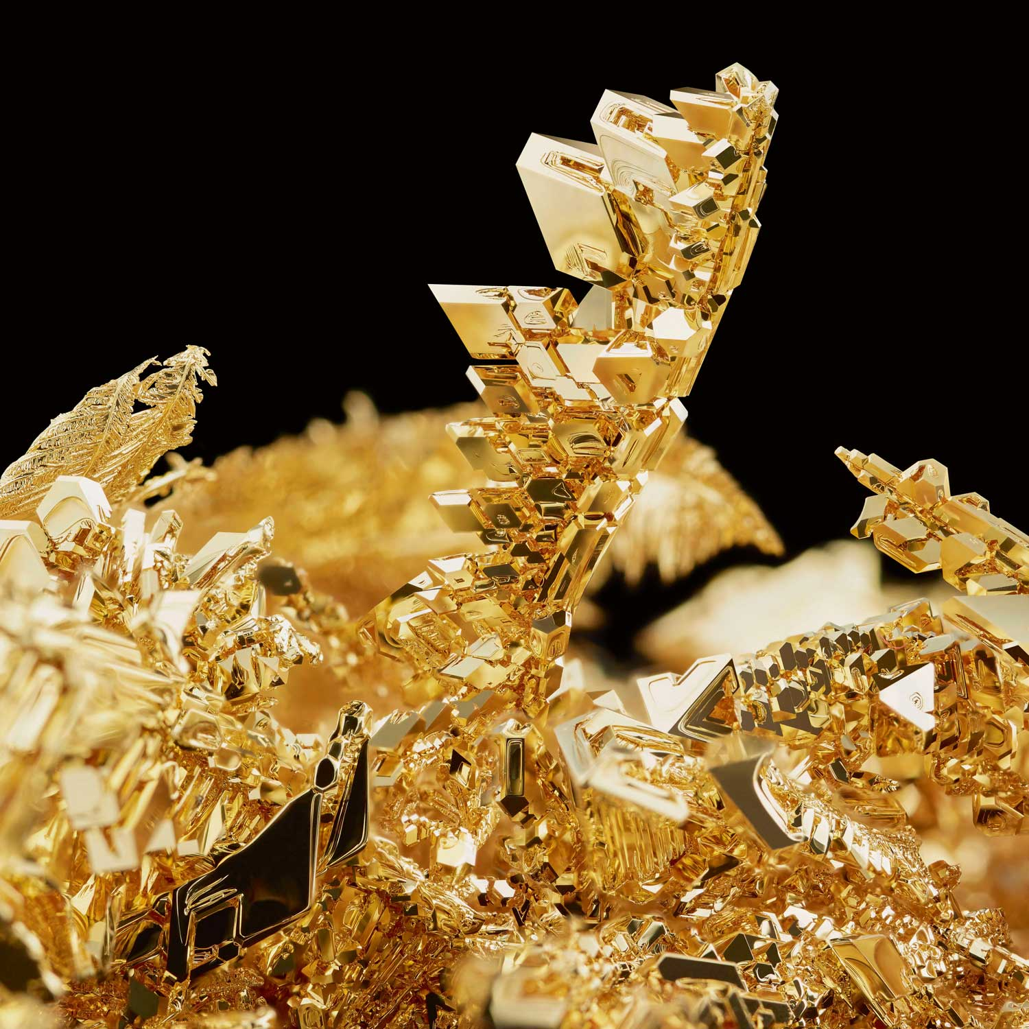 Crystallised gold, a rare natural gold formation, is mimicked by Hublot through modern technology.