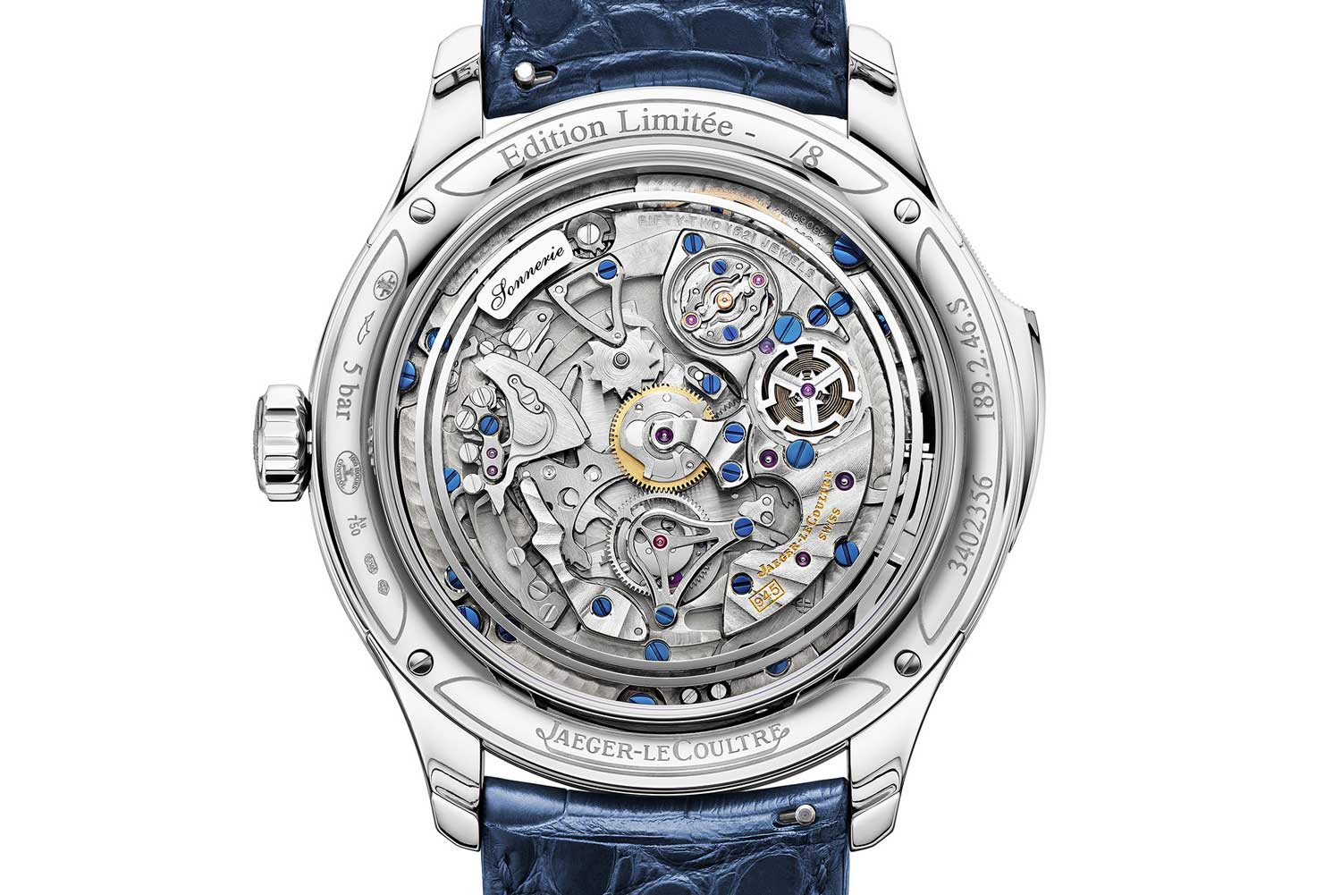 On the case back, the minute repeater's operations can be fully admired