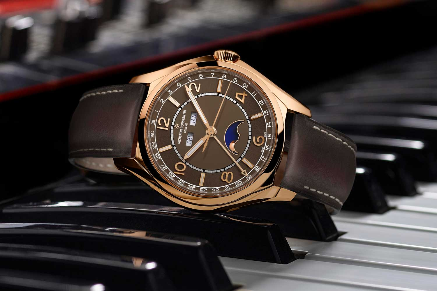 The new Vacheron Constantin Fiftysix Complete Calendar in pink gold with sepia dial.