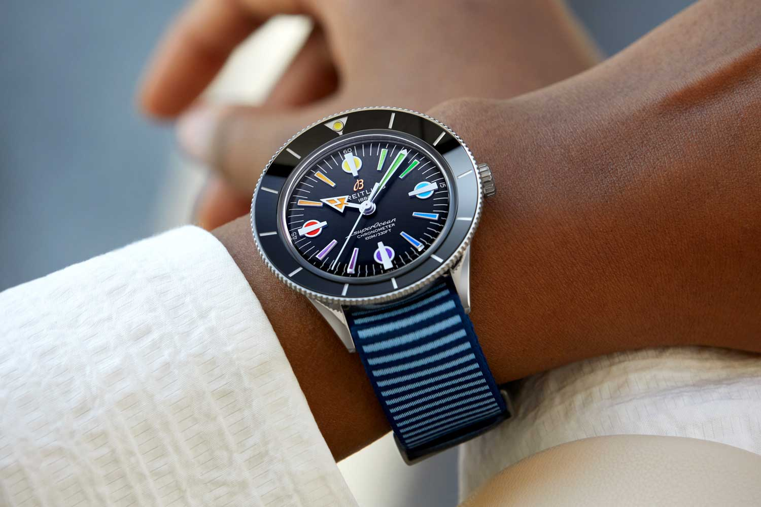 Superocean Heritage '57 Limited Edition with a light blue Outerknown ECONYL yarn NATO strap