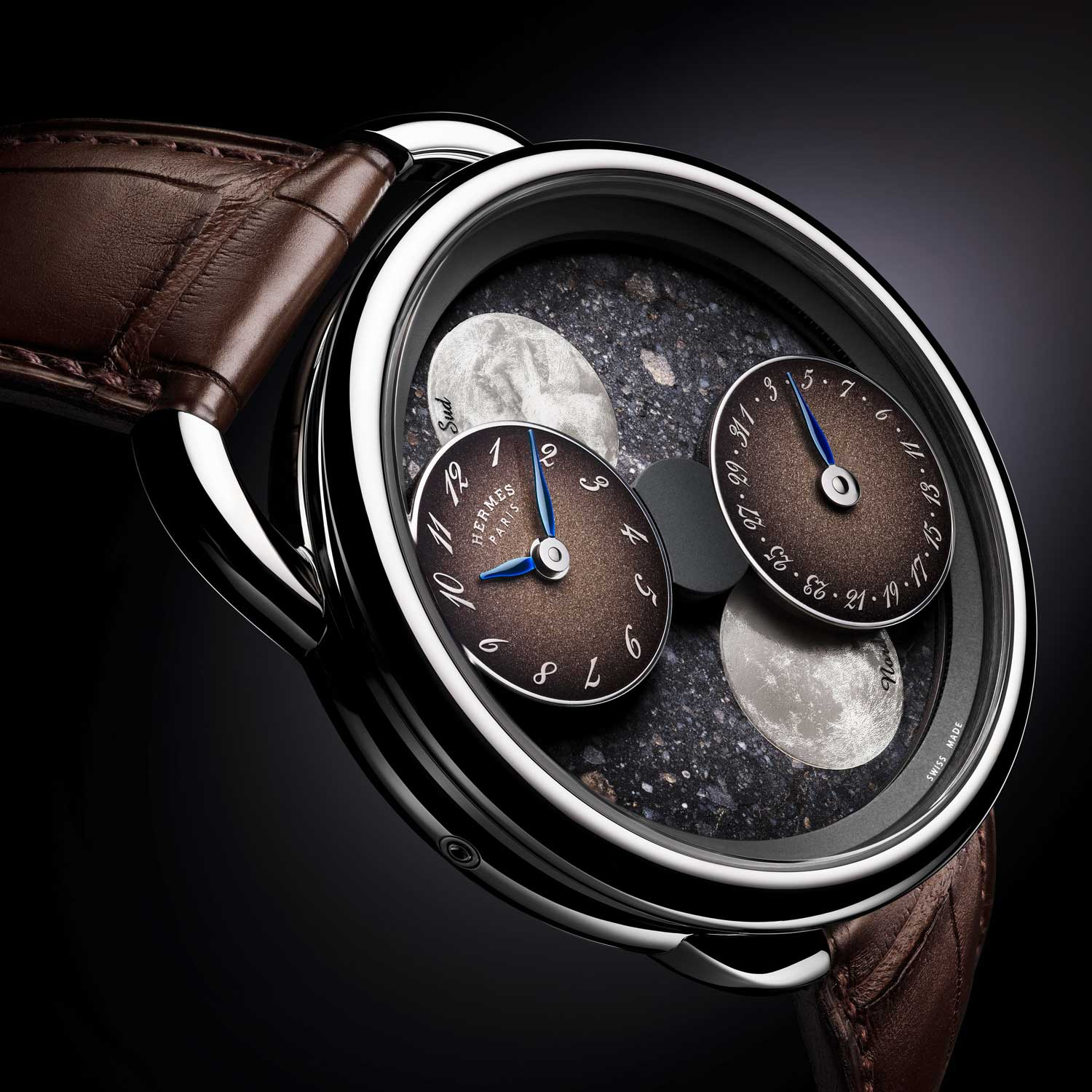 The Hermès Arceau L'Heure de la Lune with Lunar meteorite dial, limited to 36 pieces worldwide.