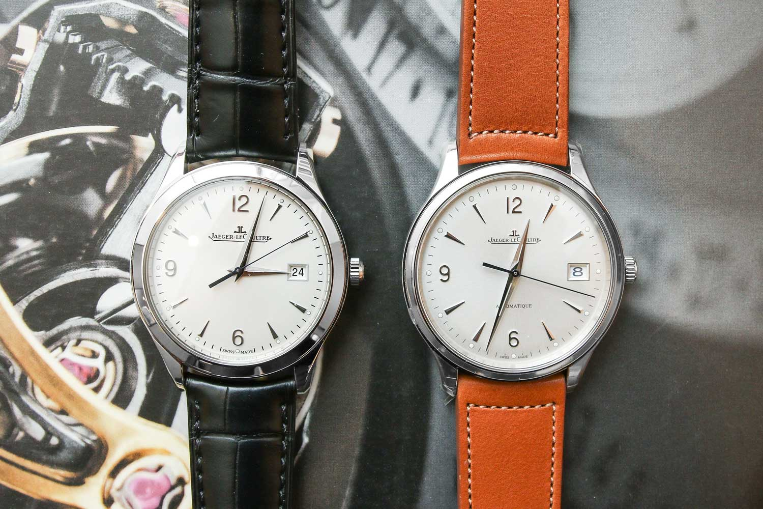 The new Master Control date on the brown calfskin leather strap next to the previous generation model. (Image © Revolution)