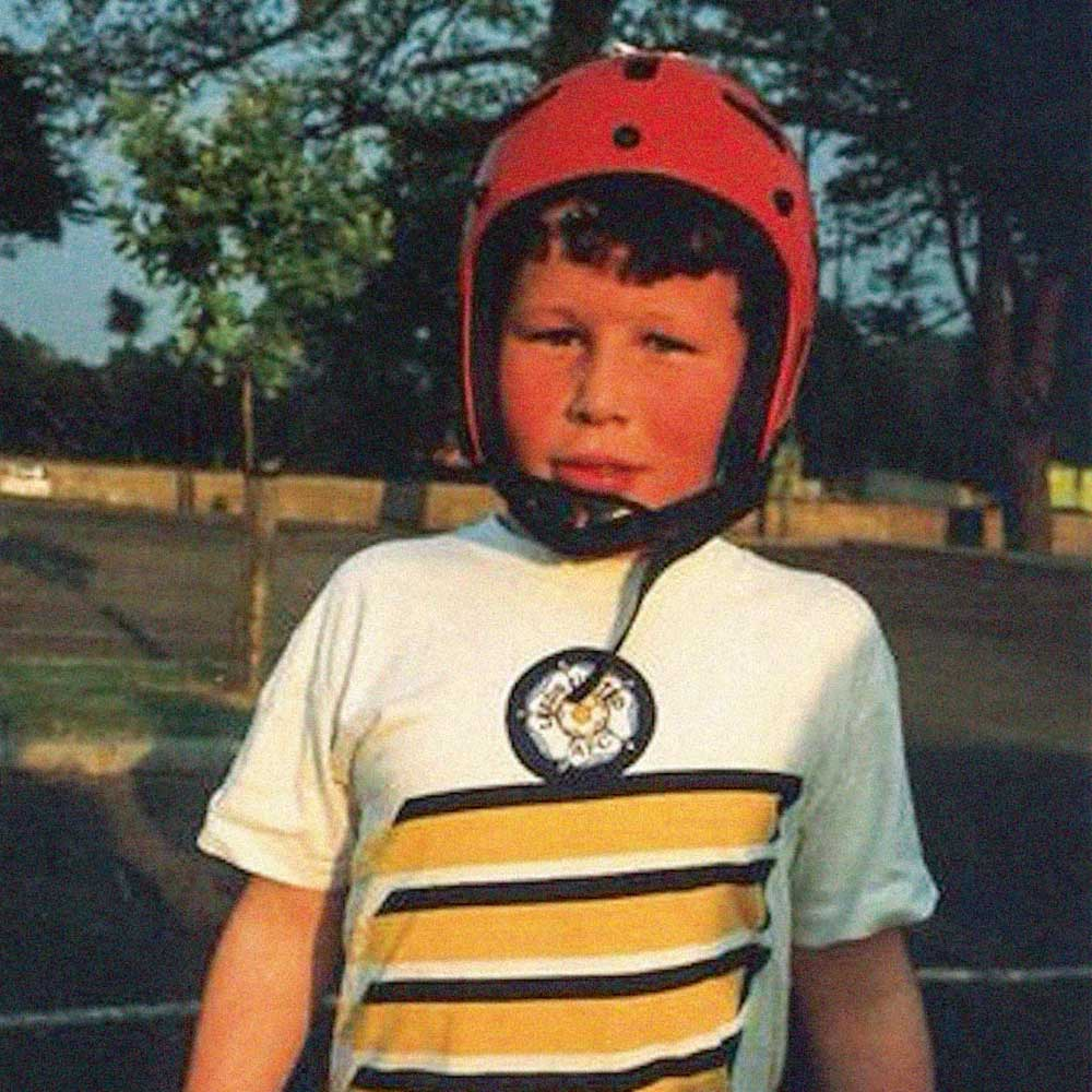 Cavendish at a young age, already an avid cyclist