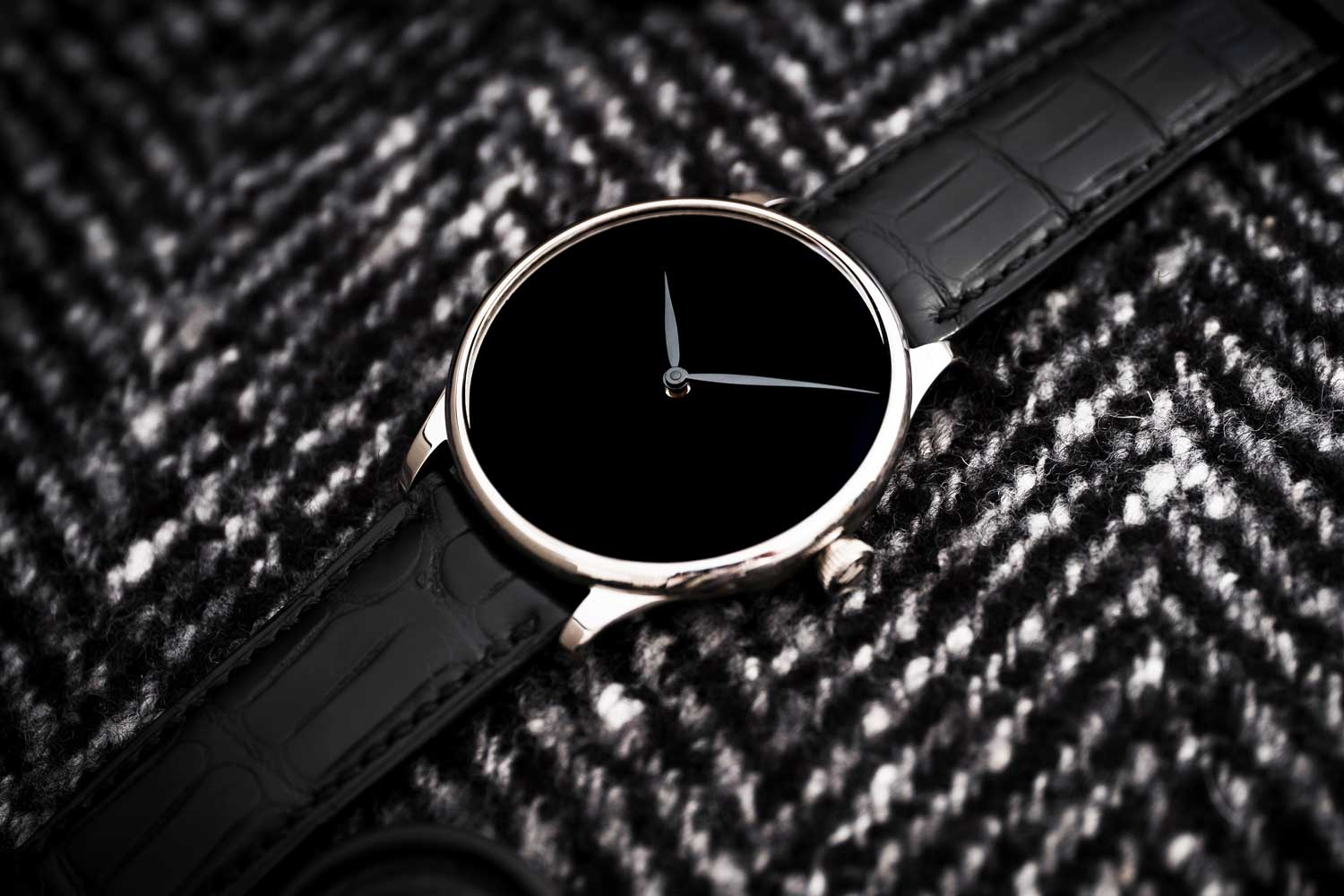 The Venturer Vantablack Black Hands has a dial that contrasts with its polished case.