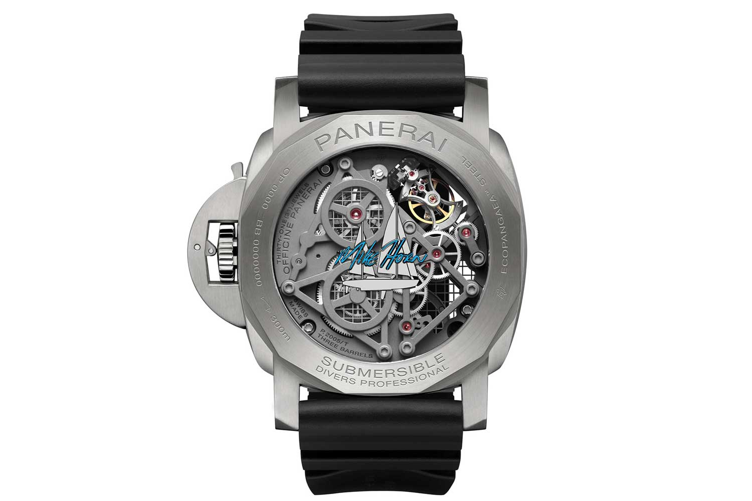 The skeleton movement design allows one to enjoy the view of the tourbillon from both sides, and the back bears Mike Horn's signature in Arctic blue