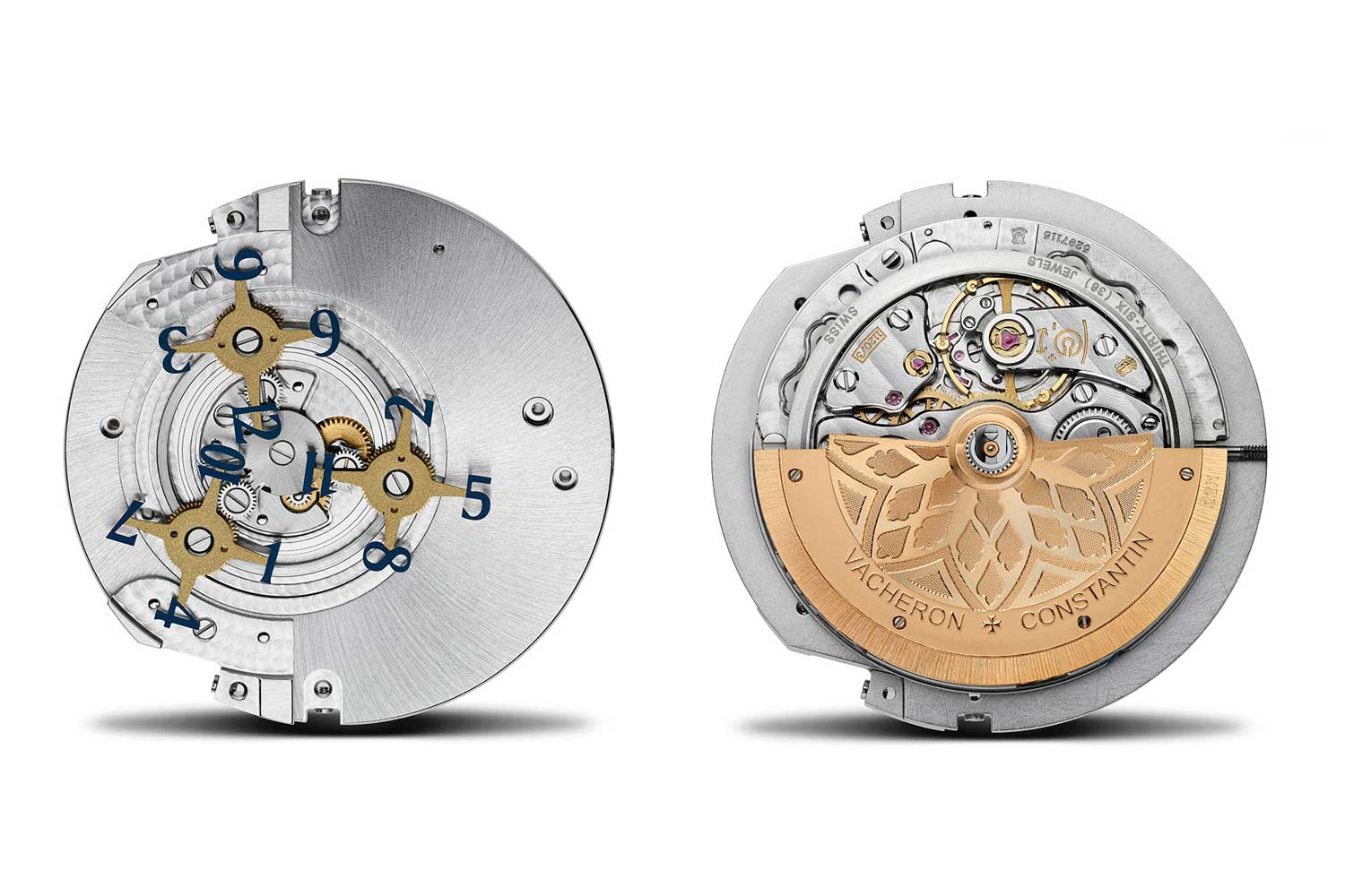 The front and back views of the caliber 1120AT by Vacheron Constantin show how the satellite display works.