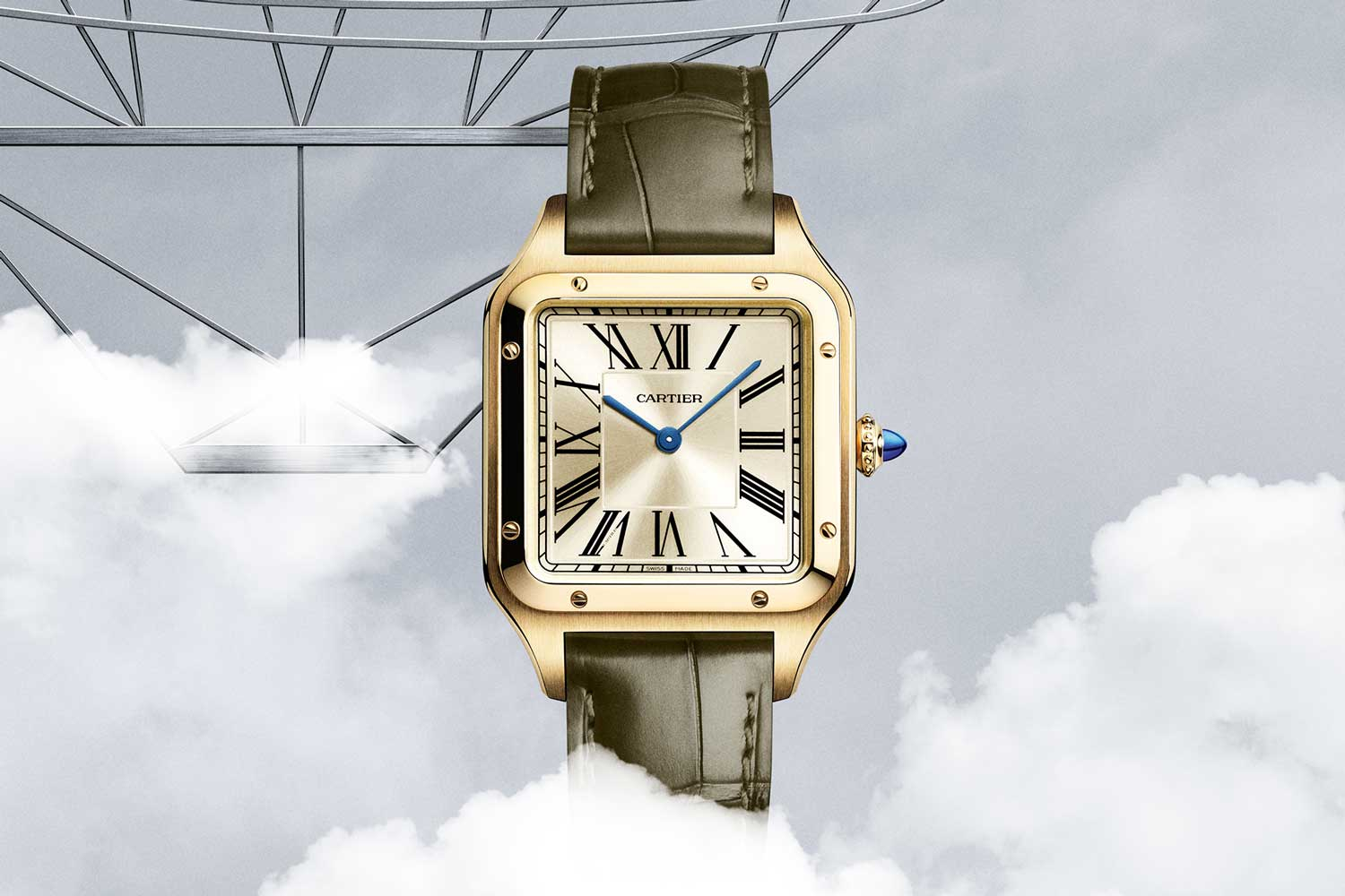 Limited to 300 pieces, this was Santos-Dumont's motorised airship, represented on the back of the watch.