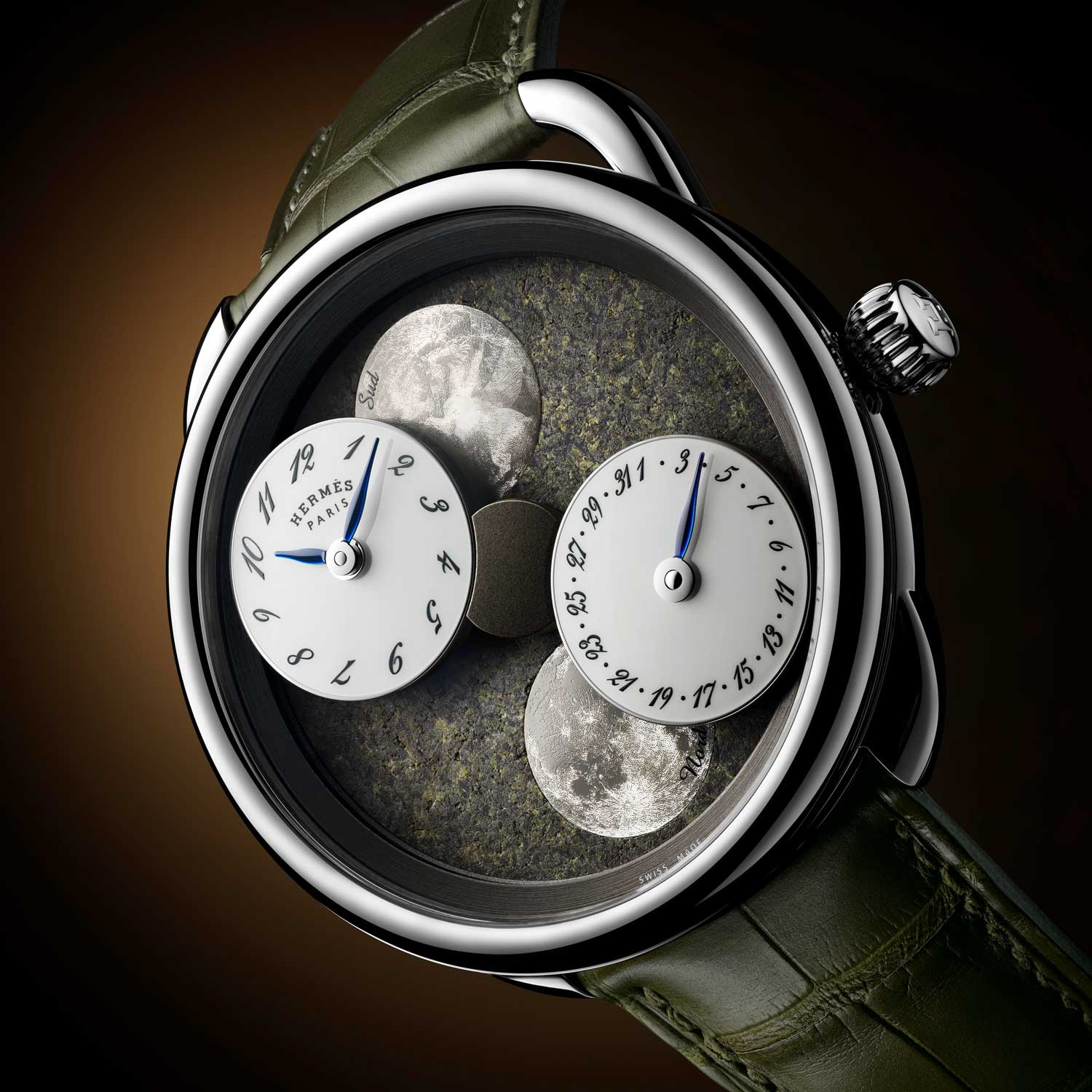 The Hermès Arceau L'Heure de la Lune with Martian meteorite dial is highly limited with just two pieces worldwide.