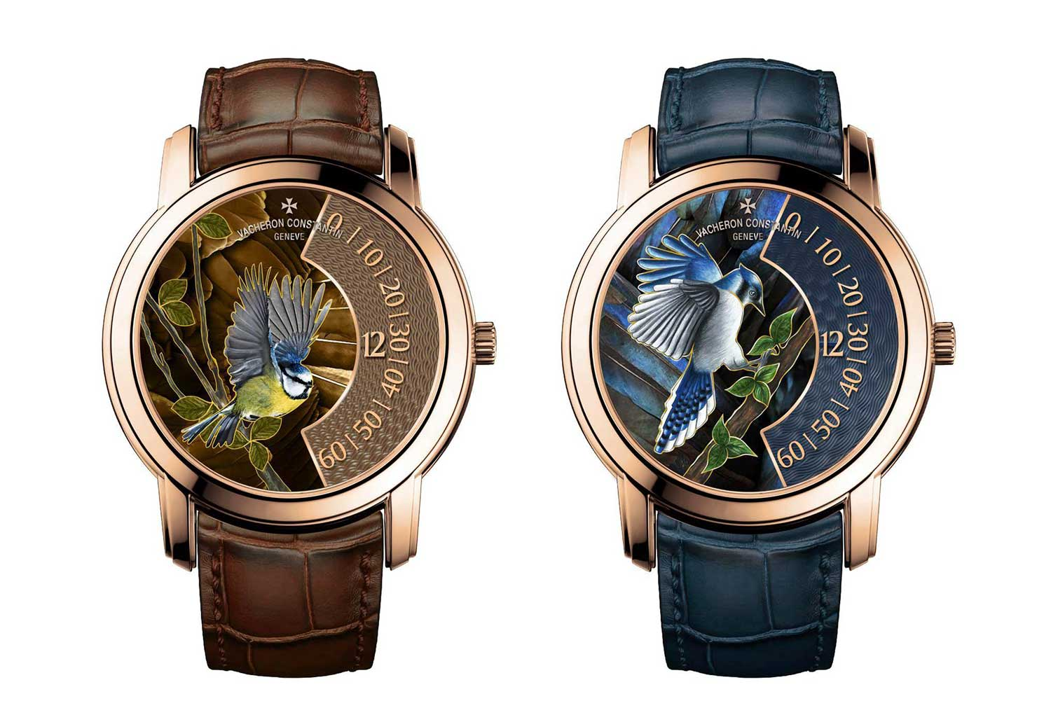 The blue tit and blue jay models of the Vacheron Constantin Les Cabinotiers Singing Birds collection.