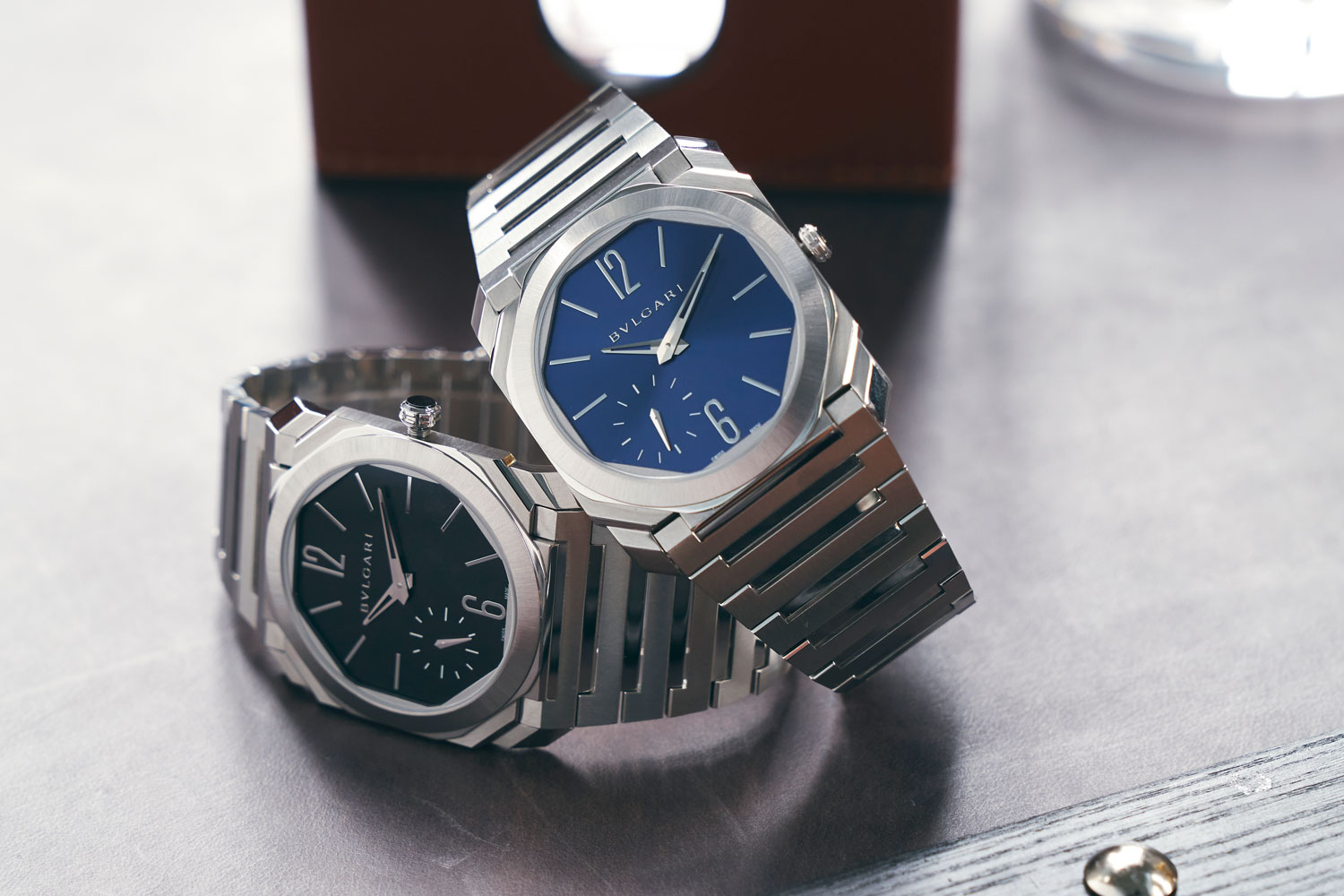 The new Octo Finissimo in satin polished steel are two of Bvlgari's latest releases for the year, in a matte black dial (left) and a blue sunray finished dial (right) (Image © Revolution)