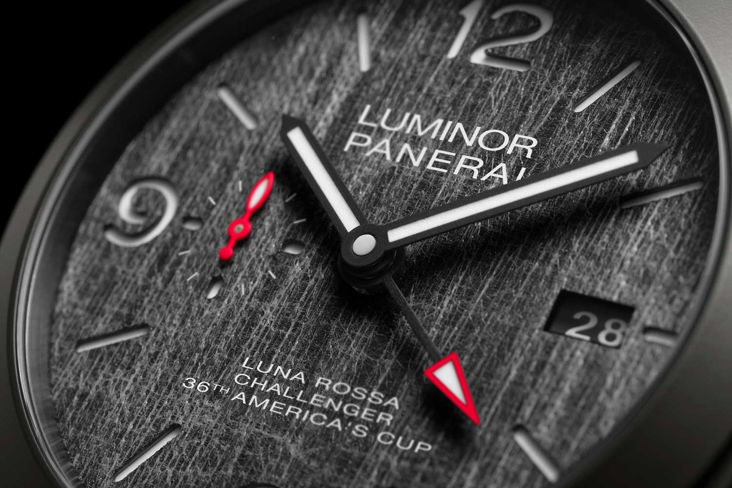 The dial is made in Panerai's signature style with a technical fabric sailcloth from Luna Rossa covering the dial