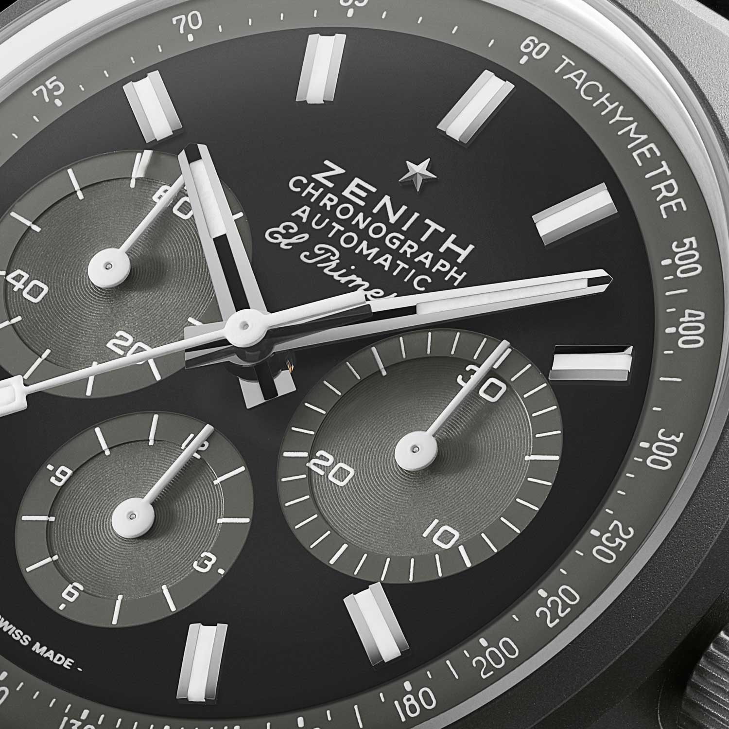 """Close up on the dial of the Zenith Chronomaster Revival """"Shadow"""""""