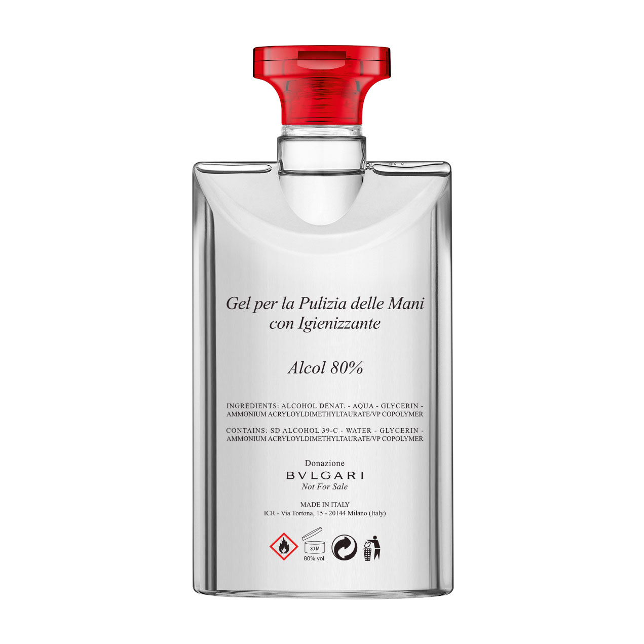 Bvlgari's hand sanitizer that its fragrance manufacturing partner, ICR, has developed to supply affected regions