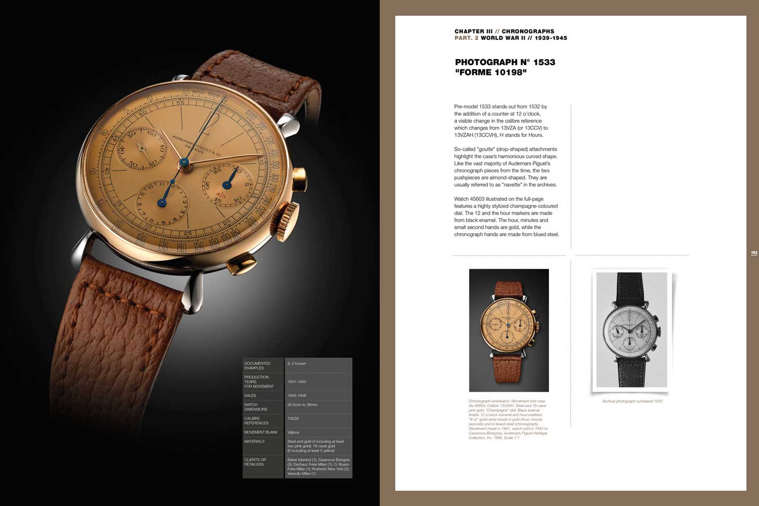 A page from the book showing the Ref. 1533, which served as the starting point for the newly released [Re]master01 self-winding flyback chronograph.
