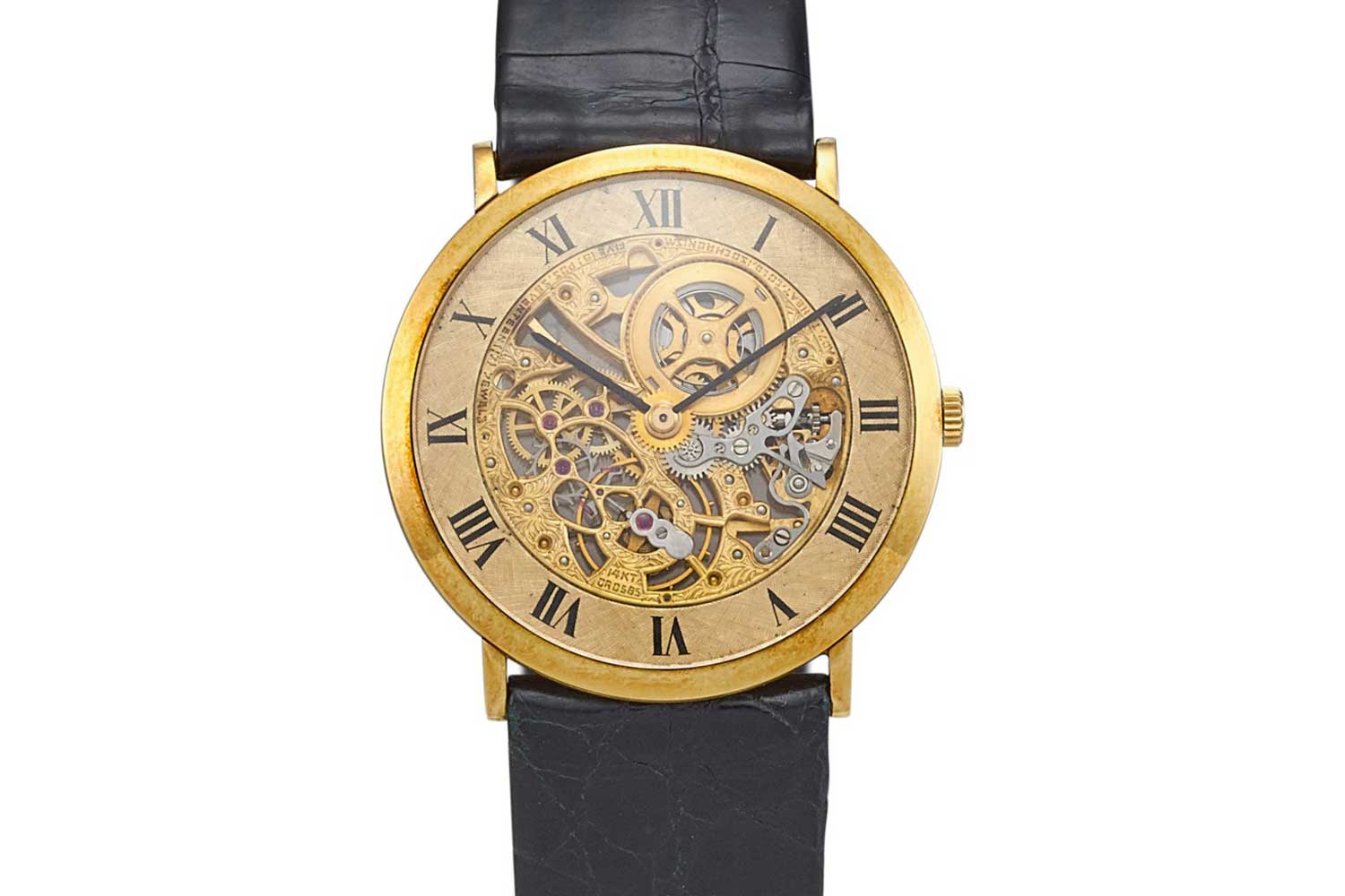 Audemars Piguet - An ultra-thin yellow gold skeletonised wristwatch from 1980