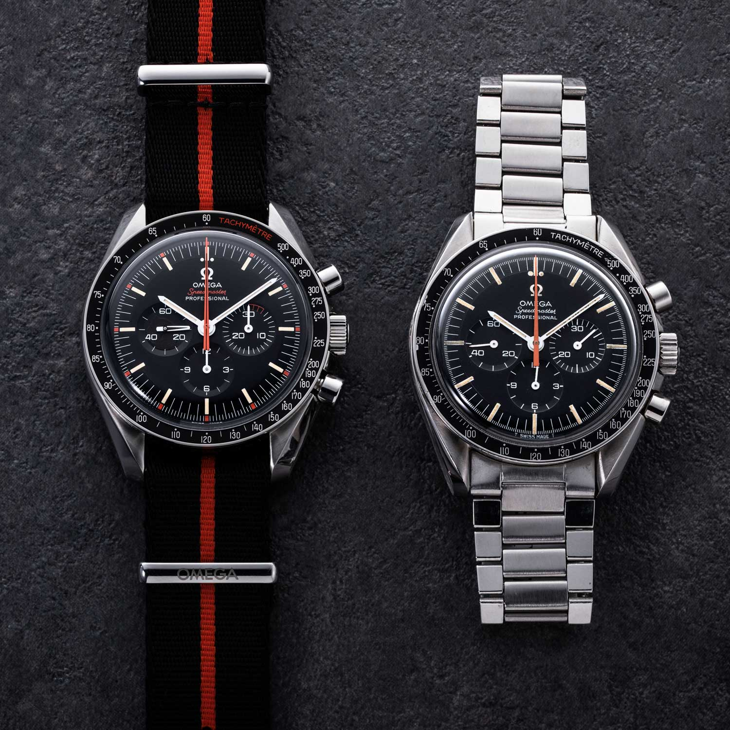 "In 2018, Omega launched a homage to the 1968 watch with the Speedmaster Limited Edition 42 Mm ""Ultraman"" (2012 pieces); the watch was given many curious details, such as the orange silhouette of Ultraman on the 9 o'clock subdial, only visible under UV light (Image © Revolution)"