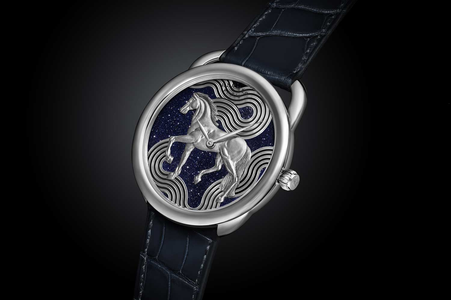 The Hermès Arceau Cheval Cosmique in aventurine dial.