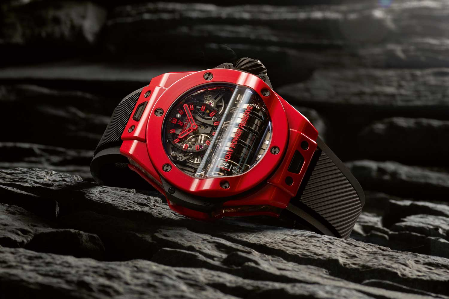 The Big Bang MP-11 Red Magic, a bold red ceramic material made by fusing iron oxides into ceramic.