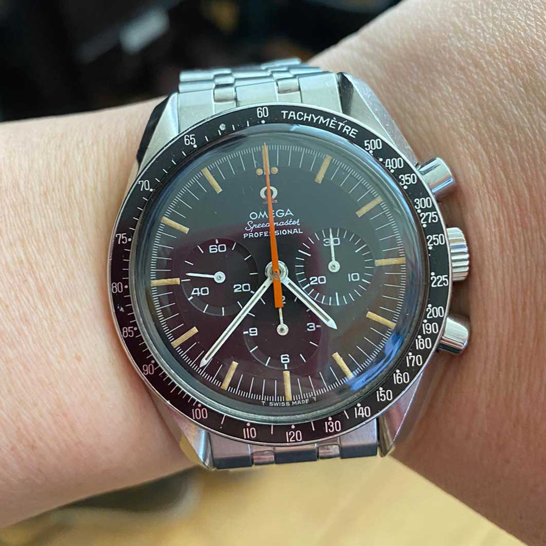 "The 1968 Omega Speedmaster ""Ultraman"" is a rare bird that was given its nickname by collectors who spotted it in the Japanese science fiction TV show ""The Return of Ultraman"" in 1971 (Image © Revolution)"