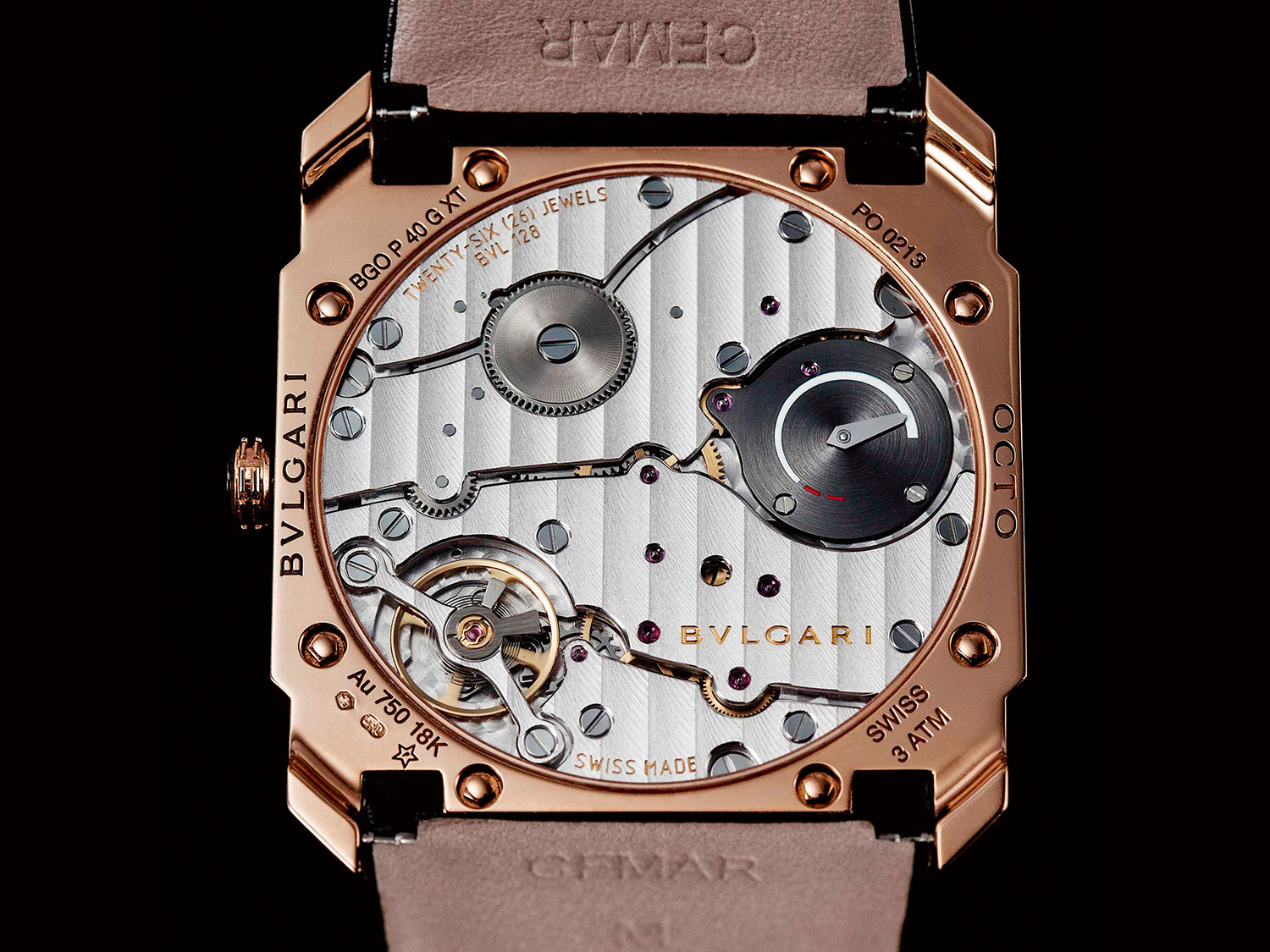 The escapement of the BVL 128 is supported with a balance bridge that's screwed down on both sides, rather than a balance cock, which improves the ultra-thin movement's shock resistance; the barrel bridge doubles as a power reserve display (Image © Revolution)