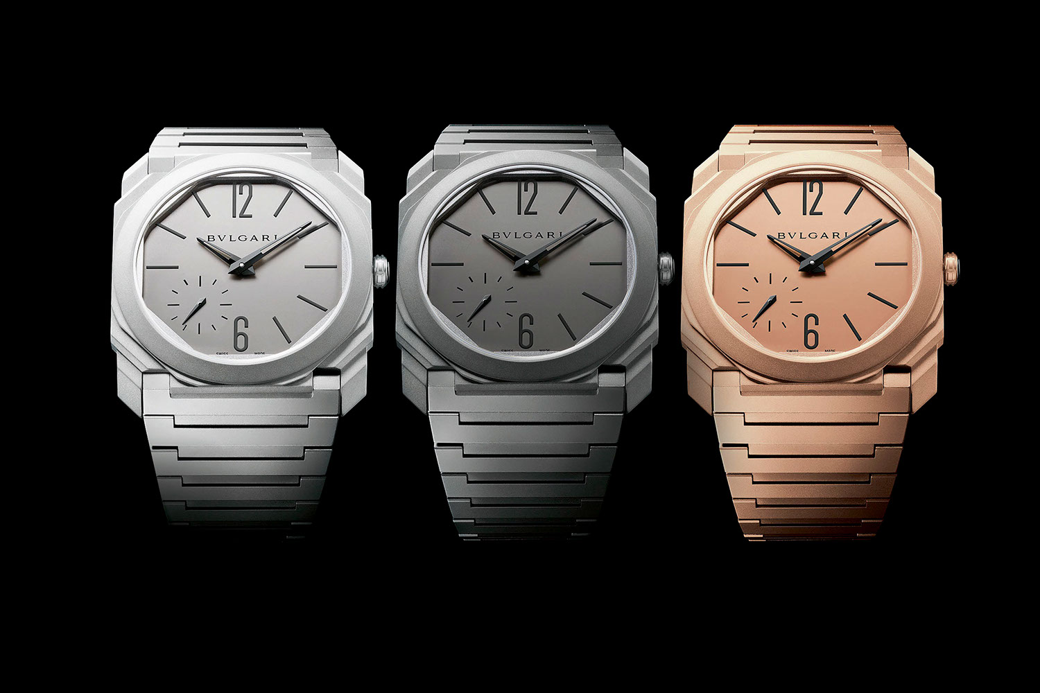 The Octo Finissimo Automatic sandblasted rhodium plated steel (left), titanium (middle) and sandblasted rose gold (right)