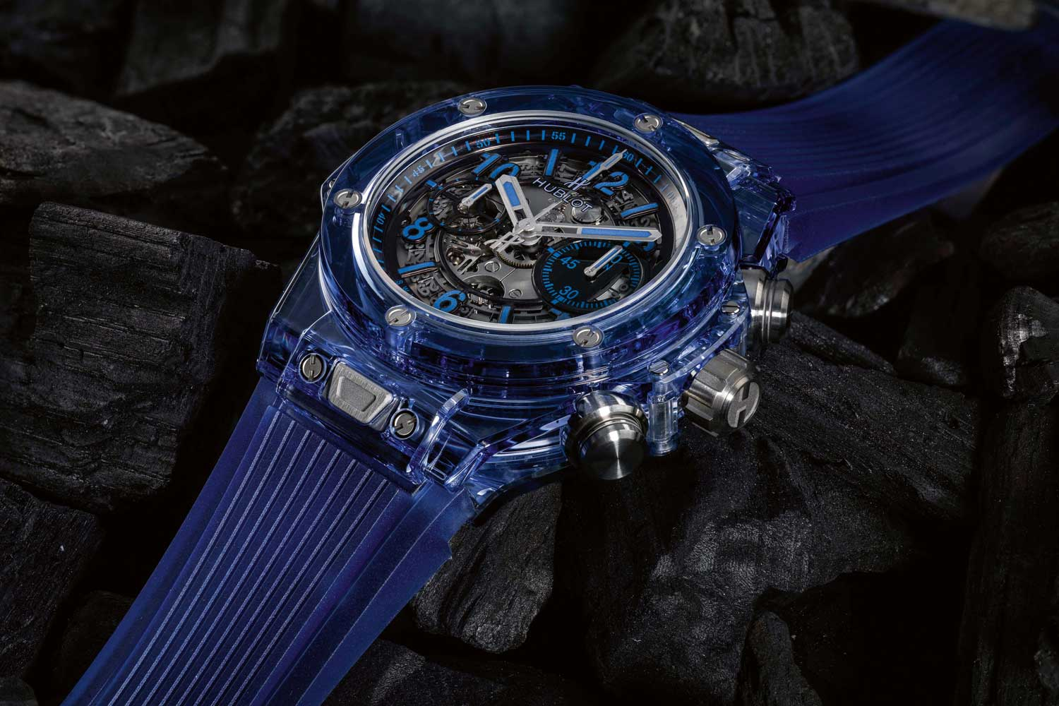 Coloured sapphire crystal is the latest success at Hublot, with blue sapphire shown here on the Big Bang Unico