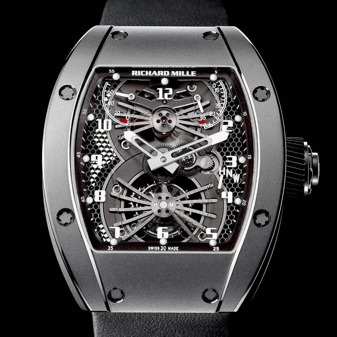 The Richard Mille RM021 Tourbillon Aerodyne is the first watch to be created with a baseplate of titanium and honeycombed orthorhombic titanium aluminide with a carbon nanofiber core
