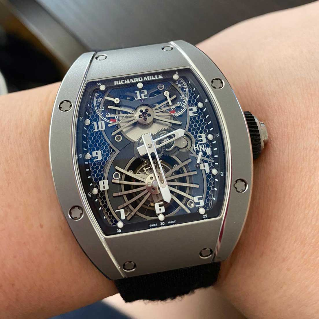 Wei's RM 021 Tourbillon on his wrist (Image © Revolution)