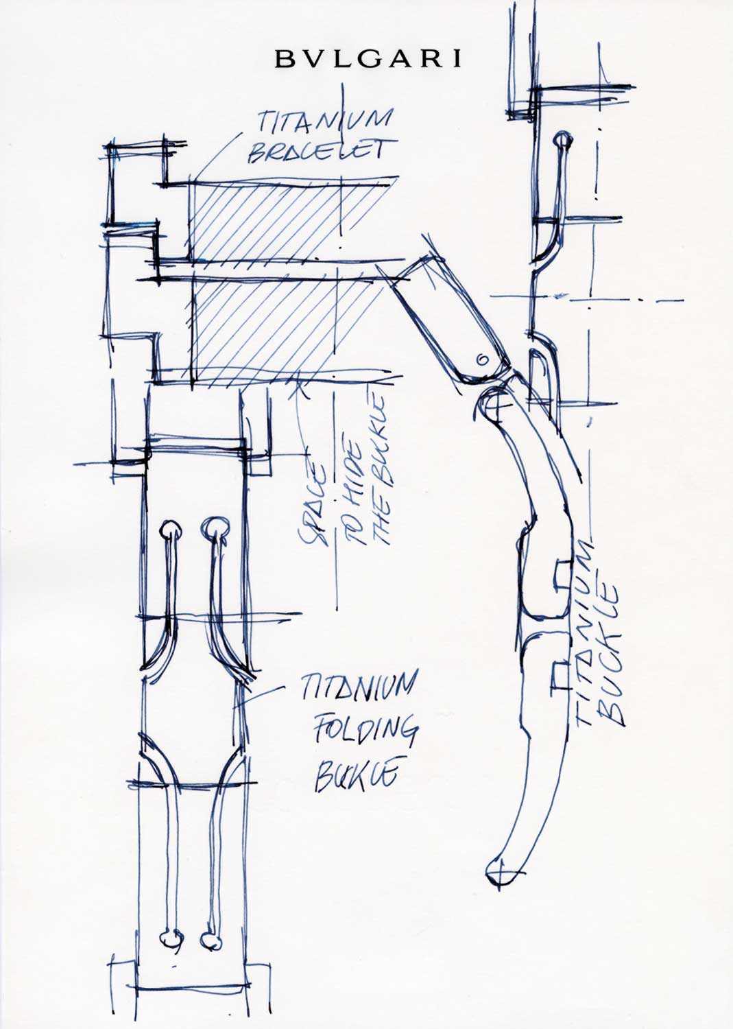 Drawings showing the conception of the Octo Finissimo's bracelet clasp