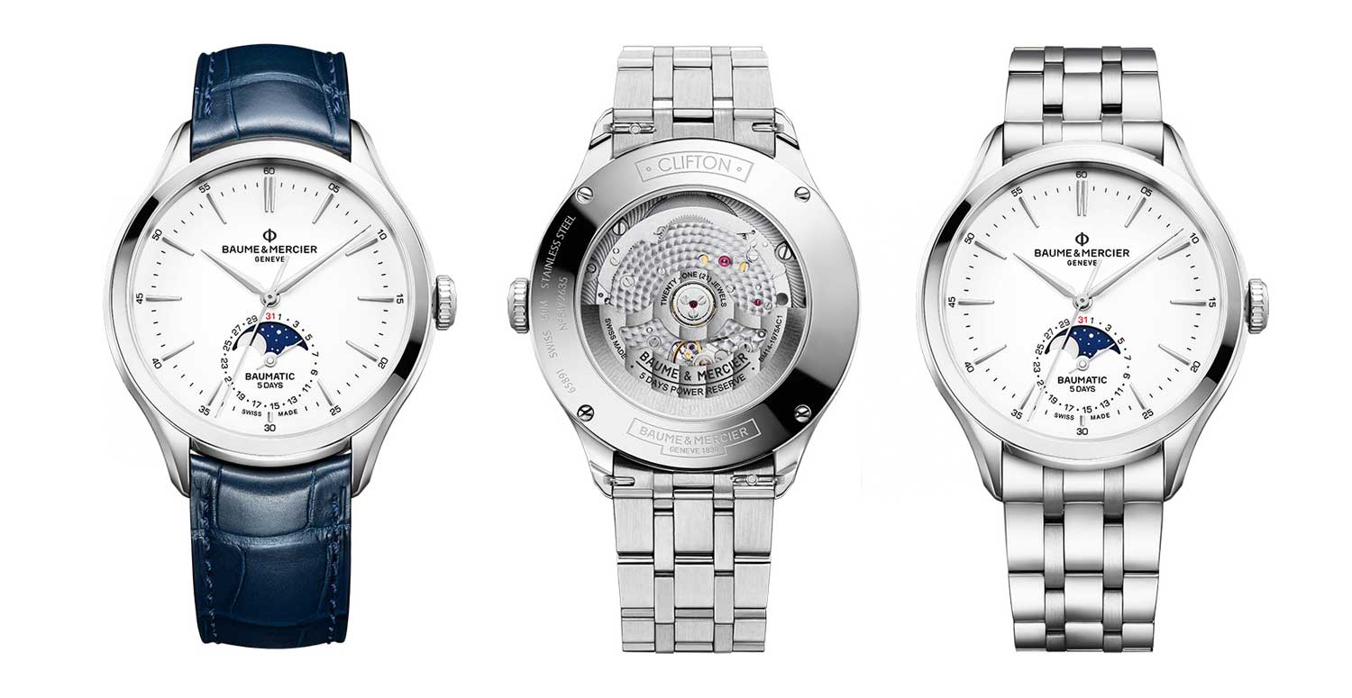 The Clifton Baumatic Date and Moonphase Automatic in bracelet and leather strap options.